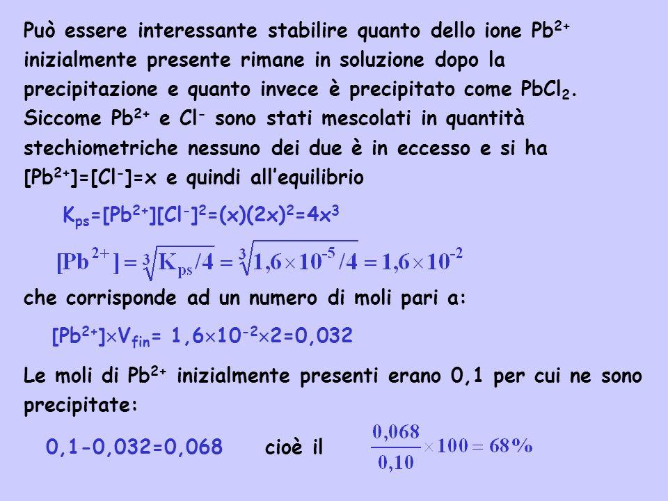 Può essere interessante stabilire quanto dello ione Pb2+ inizialmente presente rimane in soluzione dopo la precipitazione e quanto invece è precipitato come PbCl2. Siccome Pb2+ e Cl- sono stati mescolati in quantità stechiometriche nessuno dei due è in eccesso e si ha [Pb2+]=[Cl-]=x e quindi all'equilibrio